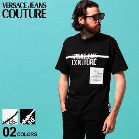 ヴェルサーチ メンズ Tシャツ 半袖 VERSACE JEANS COUTURE ヴェルサーチェ ジーンズクチュール ロゴ プリント フロントリボン クルーネック ブランド トップス プリントT ロゴT VCB3GVB7TF30319