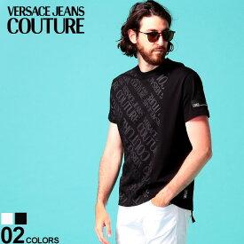 ヴェルサーチェ ジーンズクチュール メンズ Tシャツ 半袖 VERSACE JEANS COUTURE ロゴ プリント クルーネック ブランド トップス プリントT ロゴT コットン VCB3GVB7S430319
