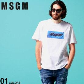 MSGM メンズ Tシャツ 半袖 エムエスジーエム BOX ロゴ プリント クルーネック ブランド トップス コットン MS2840MM230 SALE_1_a