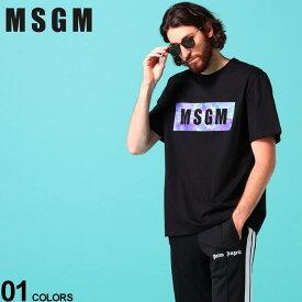 MSGM メンズ Tシャツ 半袖 エムエスジーエム BOX ロゴ プリント タイダイ クルーネック ブランド トップス コットン MS2840MM234
