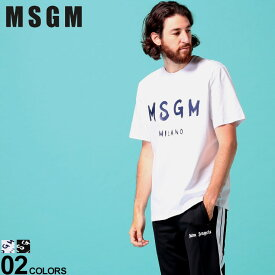 MSGM メンズ Tシャツ 半袖 エムエスジーエム ロゴ プリント クルーネック ブランド トップス コットン MS2840MM97