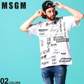 MSGM メンズ エムエスジーエム ロゴプリント 総柄 クルーネック 半袖 Tシャツ ブランド メンズ トップス Tシャツ 半袖 シャツ プリント コットン MS2840MM101