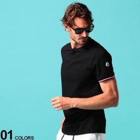 モンクレール メンズ Tシャツ 半袖 MONCLER 袖リブ トリコロール ライン ロゴ ワッペン クルーネック 黒 ブランド メンズ トップス コットン MC8C7160087296