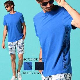モンクレール メンズ Tシャツ 半袖 MONCLER サイド ロゴ 刺繍 クルーネック ブランド トップス 青 紺 コットン MC8C720108390T SALE_1_a