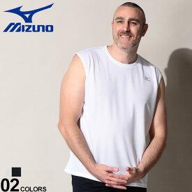大きいサイズ メンズ MIZUNO (ミズノ) 吸汗速乾 UVカット 胸ロゴ クルーネック ノースリーブ Tシャツ Tシャツ タンクトップ クルー スポーツ トレーニング 春 夏 ドライ K2JA0B60