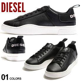 ディーゼル メンズ スニーカー DIESEL パンチング レザー ロゴ ローカット ブランド シューズ 靴 黒 DSY02045P3414