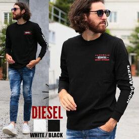 ディーゼル メンズ ロンT DIESEL Tシャツ 長袖 ロゴ 袖プリント クルーネック ブランド トップス カットソー DSA00355AAXJ
