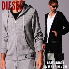 ディーゼル メンズ パーカー DIESEL リブロゴ ワッフル フード フルジップ スウェット ブランド トップス ジップパーカー スエット サーマル DSA00074KAYB