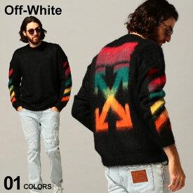 オフホワイト メンズ OFF-WHITE モヘア ニット セーター アルパカ ロゴ ダイアゴナル DIAG BRUSHED MOHAIR ブランド トップス グラデーション OWHA36E20KNI001 SALE_1_f
