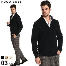 ヒューゴボス メンズ ニット HUGO BOSS ハーフジップ スタンドカラー リブ編み セーター Lcarlo ブランド トップス コットンニット ハイネック リブニット HBLCARL50430097 SALE_1_f