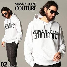ヴェルサーチ メンズ パーカー スウェット VERSACE JEANS COUTURE ヴェルサーチェ ジーンズクチュール ロゴ プリント プルオーバー ブランド トップス プルパーカー スエット VCB7GZA7KH30328