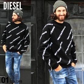 ディーゼル メンズ ニット DIESEL セーター 総柄 ロゴ サイドジップ スリット クルーネック 長袖 ニットトレーナー ブランド トップス コットンニット DSA00614LAZE