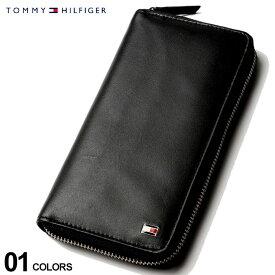 トミーヒルフィガー 財布 TOMMY HILFIGER レザー ロゴ ラウンドジップ 長財布 ブランド メンズ ウォレット ロングウォレット 小銭入れ TM31TL13X009
