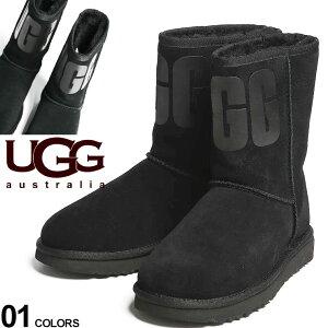 アグ オーストラリア レディース ブーツ UGG Australia ロゴ ムートン クラシックショート CLASSIC SHORT UGG RUBBER LOGO ブランド 靴 ボア UGGL1108230