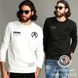 モンクレール メンズ Tシャツ 長袖 MONCLER ロゴ プリント クルーネック ブランド トップス ロンT カットソー コットン MC8D707108390T