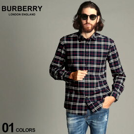 バーバリー メンズ シャツ 長袖 BURBERRY ストレッチ コットン スモールスケール チェック ブランド トップス チェックシャツ クラシック BB8018640