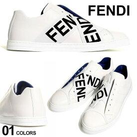フェンディ メンズ スニーカー FENDI スリッポン レザー ロゴ クロスストラップ ブランド メンズ 靴 ローカット FD7E1198ABOA