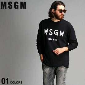 MSGM メンズ Tシャツ 長袖 エムエスジーエム ロゴ プリント クルーネック BRUSH STROKES ブランド トップス ロンT コットン クルー MS2940MM105 SALE_1_b