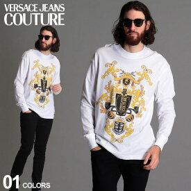 ヴェルサーチ メンズ Tシャツ 長袖 VERSACE JEANS COUTURE ヴェルサーチェ ジーンズクチュール プリント クルーネック ロンT ブランド トップス コットン VCB3GZB7KC30327