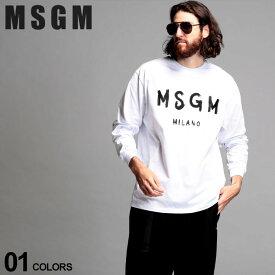 MSGM メンズ Tシャツ 長袖 エムエスジーエム ロゴ プリント クルーネック ロンT BRUSH STROKES ブランド トップス カットソー コットン MS2940MM105 SALE_1_b