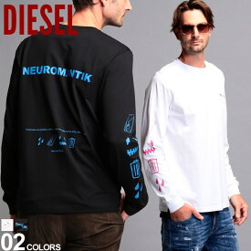 ディーゼル メンズ Tシャツ 長袖 DIESEL バックプリント クルーネック ロンT ブランド トップス カットソー コットン プリント DSA01043PATI