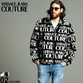 ヴェルサーチェ ジーンズクチュール メンズ ボアジャケット VERSACE JEANS COUTURE ロゴ 総柄 スタンドカラー ボア ブルゾン ブランド アウター もこもこ VCC1GZB9094899 SALE_2_a