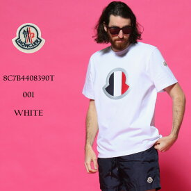 モンクレール メンズ Tシャツ MONCLER トリコロール ロゴ クルーネック 半袖 ブランド トップス プリント リフレクター MC8C7B4408390T