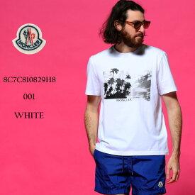 モンクレール メンズ Tシャツ MONCLER パームツリー フォト プリント クルーネック 半袖 ブランド トップス コットン MC8C7C810829H8