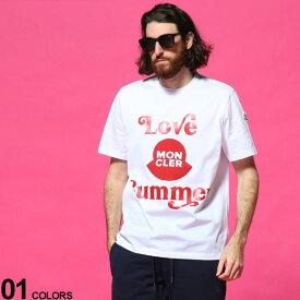 モンクレール メンズ Tシャツ MONCLER LOVE SUMMER ロゴ プリント クルーネック 半袖 ブランド トップス コットン MC8C7D6108390Y
