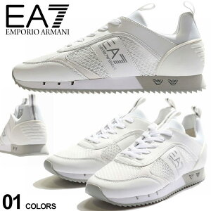 EMPORIO ARMANI EA7 エンポリオアルマーニ メッシュアッパー レースアップ スニーカー WHITE ブランド メンズ シューズ 靴 ロゴ EAX8X027XK050 SALE_4_a