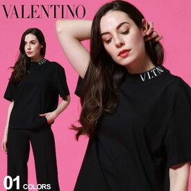 ヴァレンティノ レディース Tシャツ VALENTINO モックネック ロゴ 半袖 ブランド トップス カットソー コットン VLLUB3MG07S SALE_8_a