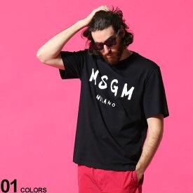 MSGM メンズ Tシャツ エムエスジーエム ロゴ プリント クルーネック 半袖 ブランド トップス コットン MS3040MM97 SALE_1_a