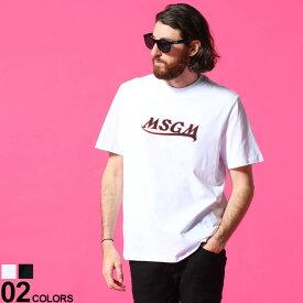 MSGM メンズ Tシャツ エムエスジーエム ロゴ プリント クルーネック 半袖 ブランド トップス コットン MS3040MM169 SALE_1_a
