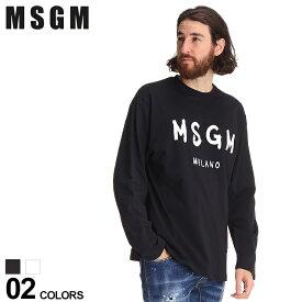MSGM メンズ Tシャツ エムエスジーエム ロゴ プリント クルーネック 長袖 ブランド トップス ロンT コットン MS3040MM105 SALE_1_b