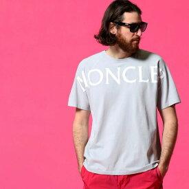 モンクレール メンズ Tシャツ MONCLER ロゴ プリント クルーネック 半袖 ライトグレー ブランド トップス コットン MC8C7C510829H8