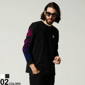 モンクレール メンズ MONCLER 袖 ロゴ ワッペン グラデーション クルーネック 長袖 Tシャツ ブランド トップス ロンT MC8D00011829H8 2021AW