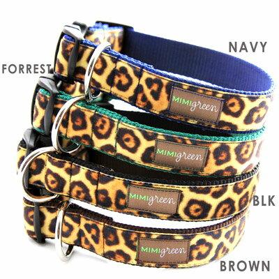 送料無料 /首輪 カラー MIMI Green ミミ グリーン Velvent Leopard ベルベット レパード 豹柄 海外直輸入 ヒョウ柄 / 小型犬 中型犬 大型犬