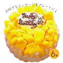 フローズンマンゴーと生乳アイスクリームのアイスデコレーションケーキ 6号【プレート対応あり】誕生日ケーキ バース…