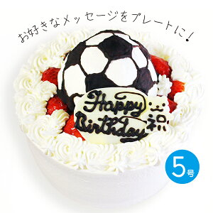 誕生日ケーキ サッカーボールの立体 デコレーションケーキ 5号【プレート対応あり】バースデーケーキ 合格祝い 優勝