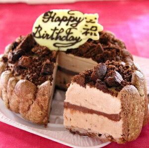 誕生日ケーキ チョコレートのアイスクリームデコレーションケーキ 5号【プレート対応】チョコアイスケーキ 誕生日 アイス 子供 バースデーケーキ 記念日 プレゼント