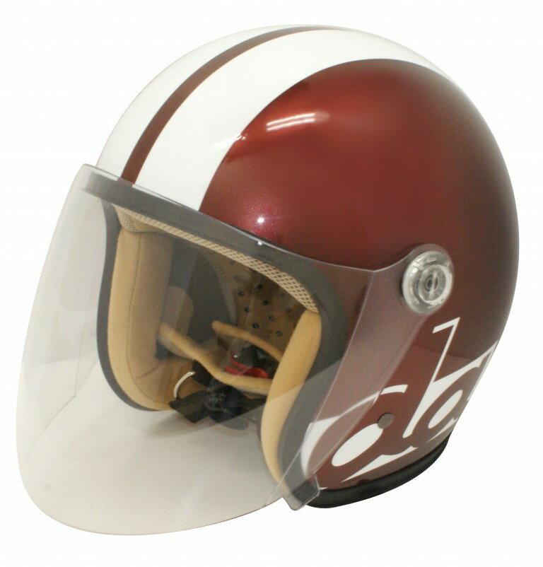 JET-S ダムフラッパー マルーン/ホワイト フリーサイズ(57cm〜58cm)レディース用シールド付ヘルメット ダムトラックス(DAMMTRAX)