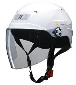 ZORK 開閉シールド付きハーフヘルメット ホワイト 大きめフリー(60〜62cm) リード工業