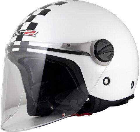 LS2 J-KIDS チェッカーホワイト (キッズジェットタイプヘルメット) キッズフリー(53cm) MHR
