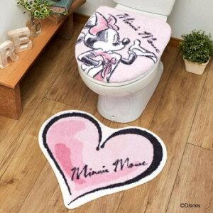 トイレ2点セット(洗浄・暖房便座用フタカバー&トイレマット) ディズニーミニー SB-529-D