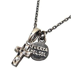 PUERTA DEL SOL(プエルタデルソル)【PE922-NE846-SET】クロス コイン チャーム ネックレス[チェーン付][槌目加工 テクスチャー]【ギフト包装-対応】
