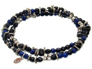 [即日発送] amp japan(アンプジャパン)11AHK-671 3重ブレスレット・1重ネックレス[Blue Gold Lapis Necklace]【ブルーゴールドストーン/ラピス】アンティーク/天然石メンズ/レディース/シルバー【パワー