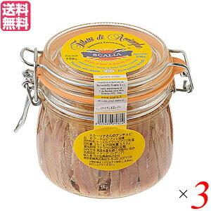 アンチョビ フィレ 缶詰 スカーリアさんのアンチョビ 550g(固形量 350g)3個セット 送料無料
