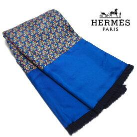 【中古】【非常に良い】 HERMES エルメス ショール ストール ミニフリンジマフラー 乗馬柄 総柄 シルク アンゴラ 青色 紺色 群青色 ユニセックス ブランドストール ブランドマフラー