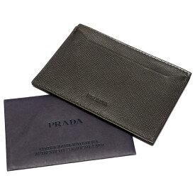 【中古】【良い】 PRADA プラダ カードケース パスケース 名刺入れ シンプル ワンポイントロゴ サフィアーノレザー ブラック ダークブラウン M208X メンズ ブランドカードケース