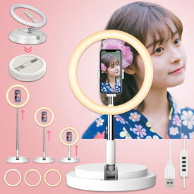 LEDリングライト ビデオライト 折畳み一体式 高安定性 生放送ライト 外径11.4インチ 撮影用 高輝度 自撮りライト3色モード10段階輝度調整 51cm~168cm 伸縮スタンド 組み立て簡単 収納便利 卓上地面両用 YouTube・TikTok・Zoom・ライブ・化粧・美顔ライト